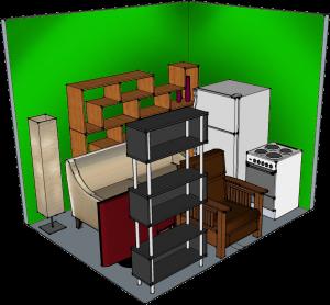 8' width x 10' depth x 9' height climate controlled self-storage unit at QC-Storage in Davenport, Iowa, Quad Cities, IL