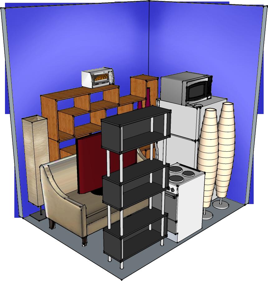 9' width x 7' depth x 10' height Interior hallway self-storage unit at QC-Storage in Davenport, Iowa. Quad Cities, IL