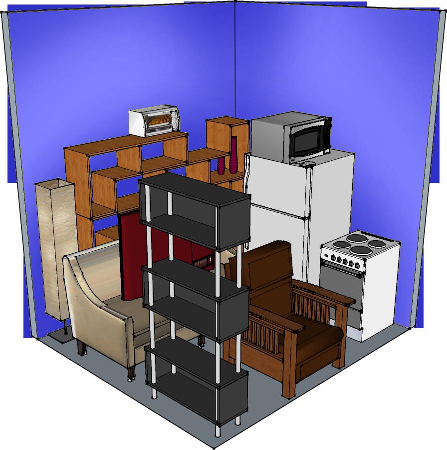 9' width x 8' depth x 10' height Interior hallway self-storage unit at QC-Storage in Davenport, Iowa. Quad Cities, IL