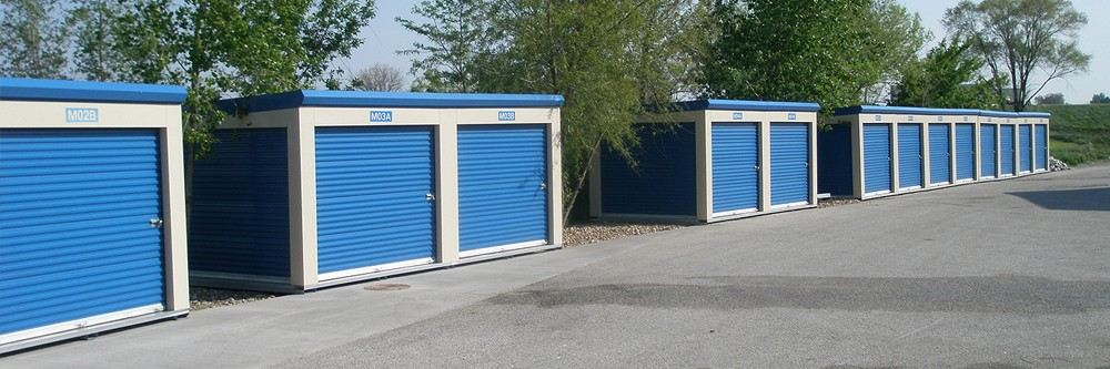 Modular self-storage units available in Davenport, Iowa.
