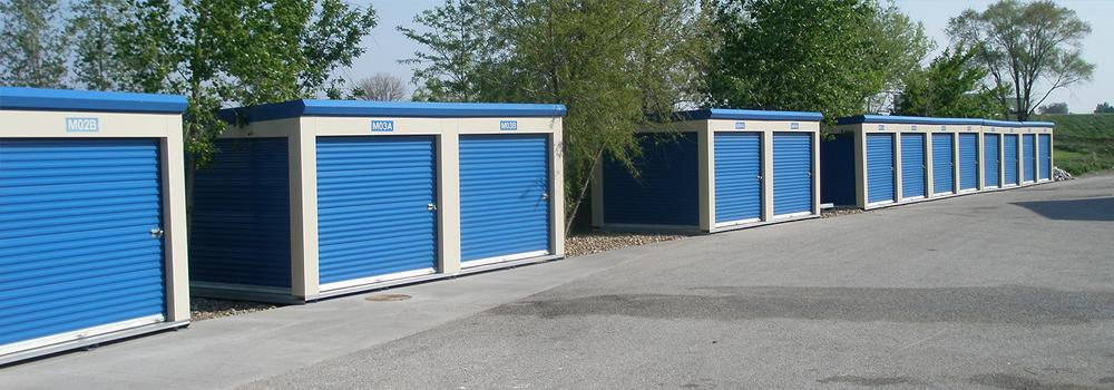 Modular self-storage units available in Davenport, Iowa.