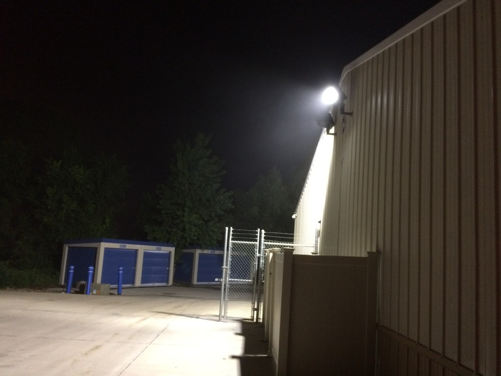 Perimeter LED flood lighting at 24 hour self storage units