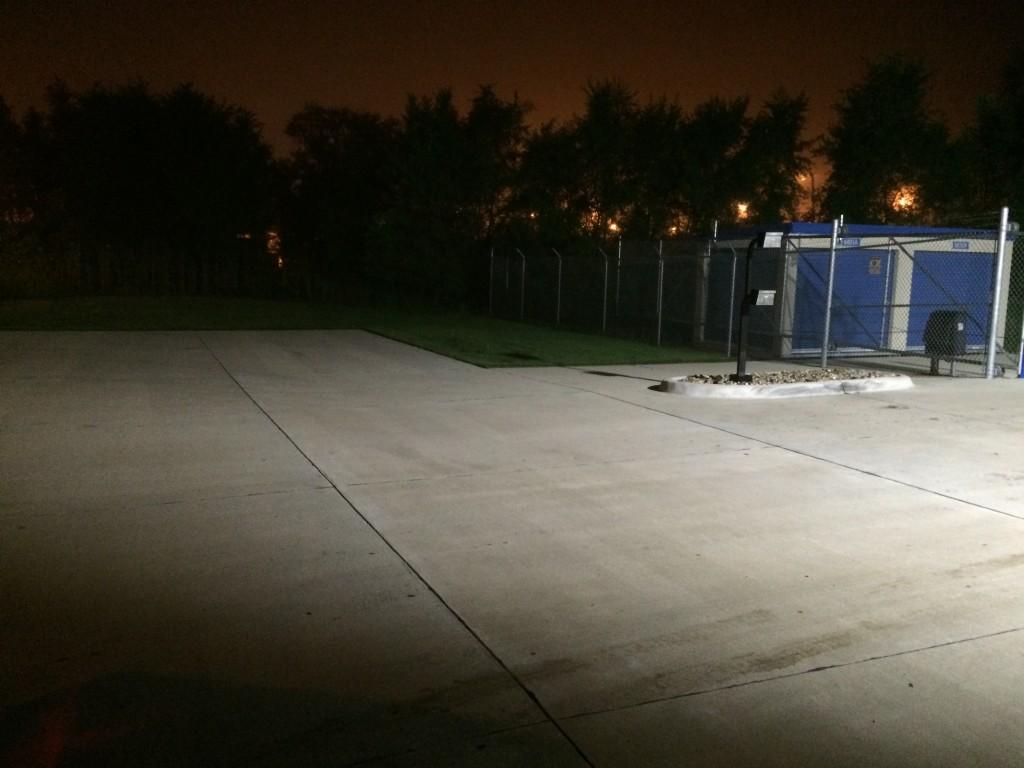 Perimeter LED flood lighting at 24 hour storage front gate